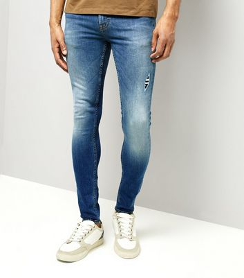 Bright Blue Ripped Super Skinny Stretch Jeans New Look