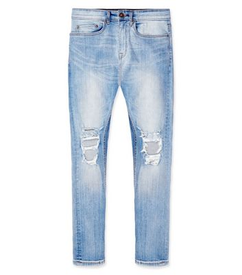Pale Blue Light Wash Ripped Knee Super Skinny Jeans New Look