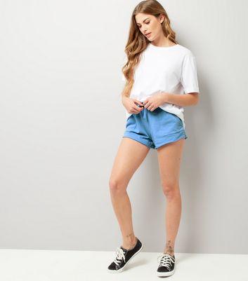 Blue Tie Waist Shorts New Look