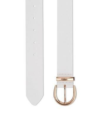 White Leather Belt New Look