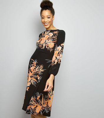 Maternity Black Floral Print Funnel Neck Midi Dress New Look
