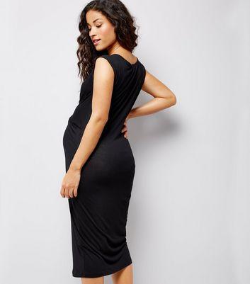 Maternity Black Cross Front Jersey Midi Dress New Look