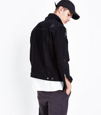 Black Ripped Zip Sleeve Denim Jacket New Look