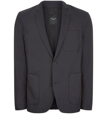 Navy Cotton Mix Blazer New Look