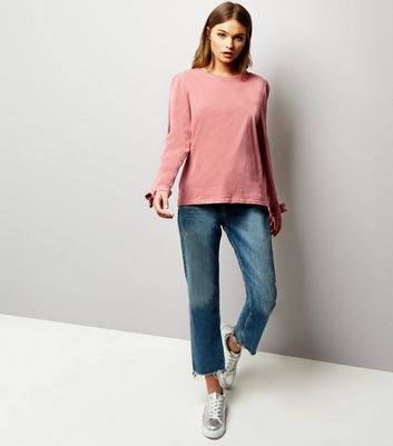 Deep Pink Split Tie Sleeve Top New Look