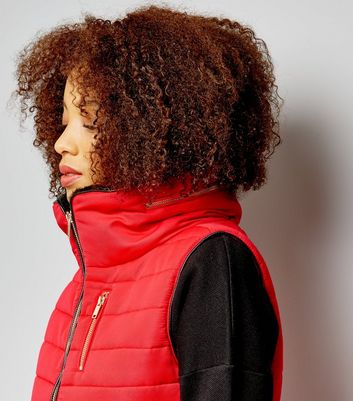 Red Fitted Padded Gilet New Look