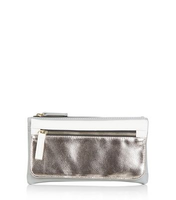 Silver Colour Block Fold Over Purse New Look