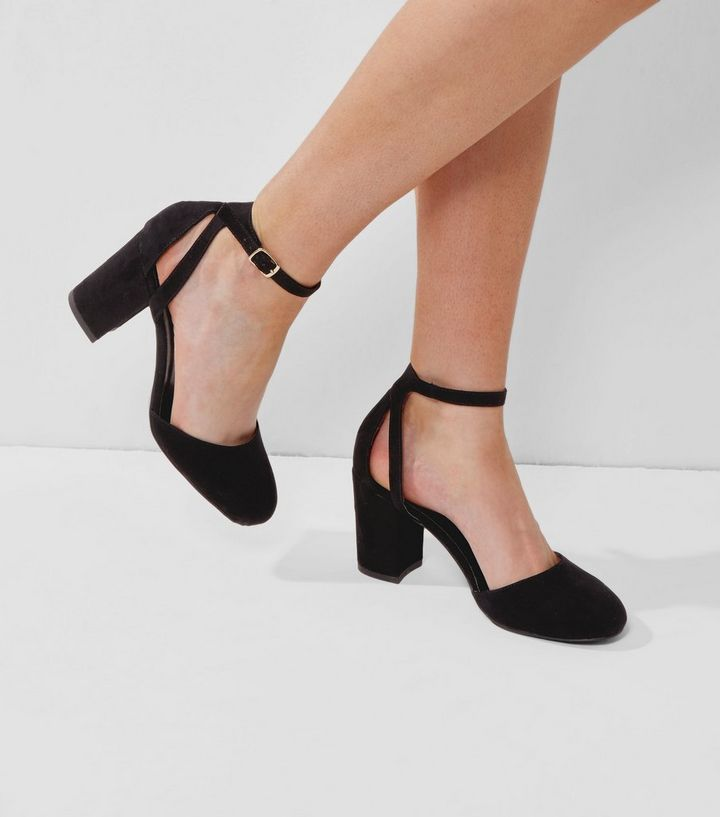 267c0e3bfbae Wide Fit Black Suedette Ankle Strap Heels