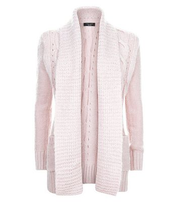 Petite Shell Pink Cable Knit Cardigan New Look