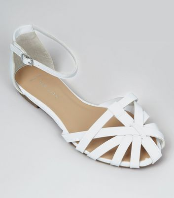 Wide Fit White Caged Front Sandals