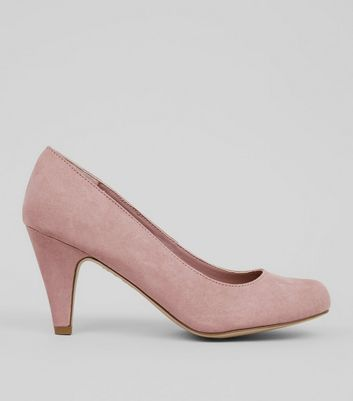 Extra Wide Fit Pink Suedette Court Shoes New Look