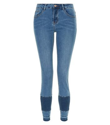 Blue Patchwork Skinny Jenna Jeans New Look