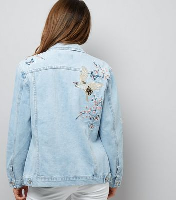Blue Floral Embroidered Denim Jacket New Look