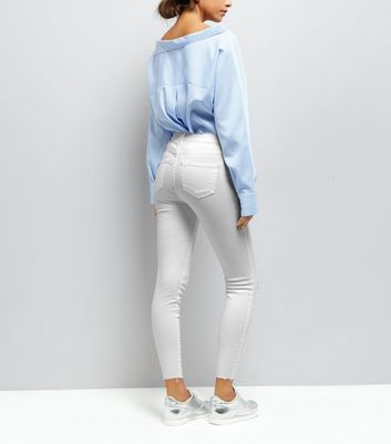 White Ripped Skinny Jenna Jeans New Look