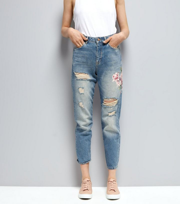 d25501809e Blue Floral Print Ripped Mom Tori Jeans