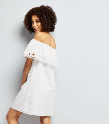 White Cut Out Trim Bardot Neck Dress New Look