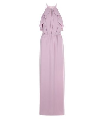 Lilac Keyhole Frill Trim Maxi Dress New Look