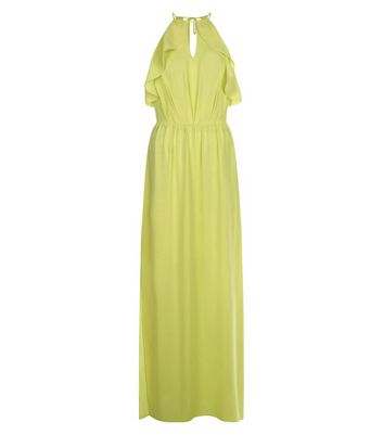 Yellow Frill Trim Keyhole Front Maxi Dress New Look