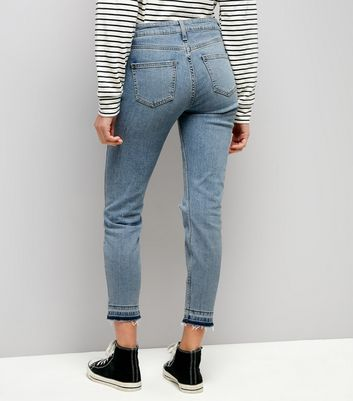 Blue Ripped Drop Hem Relaxed Skinny Leyla Jeans New Look