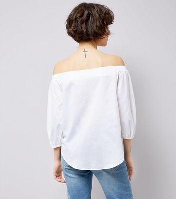 White Bardot Neck 3/4 Sleeve Top New Look