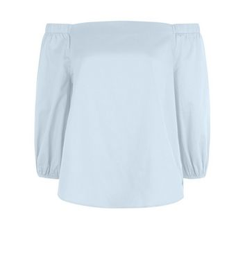 Pale Blue Bardot Neck Top New Look