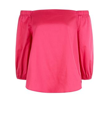 Bright Pink 3/4 Sleeve Bardot Neck Top New Look