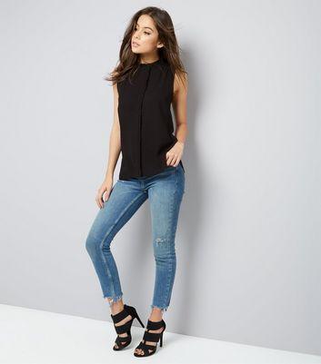 Black Frill Trim Sleeveless Top New Look