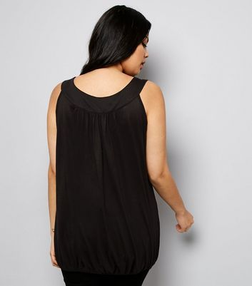 Curves Black Bubble Hem Vest New Look