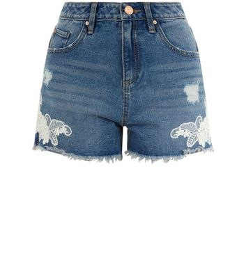 Teens Blue Lace Trim Denim Shorts New Look