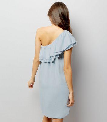 Pale Blue One Shoulder Frill Trim Dress New Look