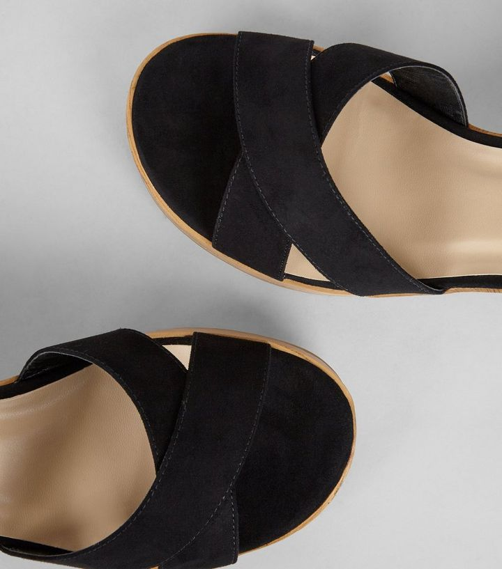 a65c335433c ... Wide Fit Black Suedette Wooden Platform Heels. ×. ×. ×. VIDEO Shop the  look