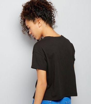 Teens Black Ripped Short Sleeve Crop Top New Look