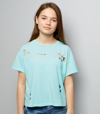 Teens Mint Green Ripped Short Sleeve T-Shirt New Look