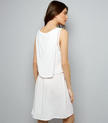 JDY White Cut Out Trim Layered Sleeveless Dress New Look