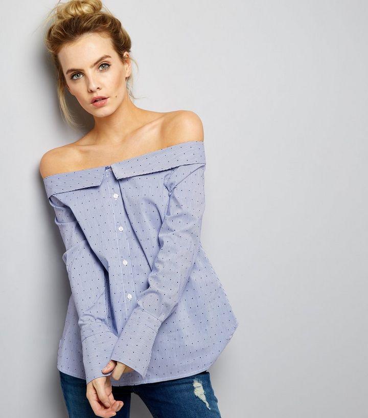 3388430b1e7b8 Petite Blue Stripe and Spot Off The Shoulder Shirt