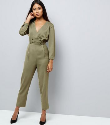 cd8b00c99894 Petite khaki satin tuxedo jumpsuit new look jpg 720x817 New style jumpsuit