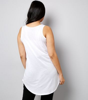 Curves White Dip Hem Vest New Look
