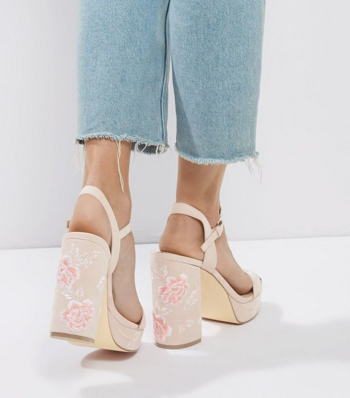 7ffb65d3c2a Light Pink Floral Embroidered Platform Heels Add to Saved Items Remove from  Saved Items