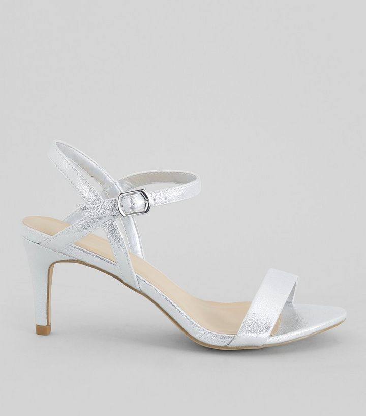 5f701dde3 Silver Ankle Strap Heeled Sandals