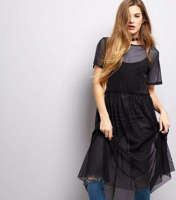Black Mesh Frill Trim Smock Dress New Look