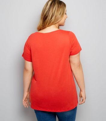 Curves Red Scoop Neck T-Shirt New Look