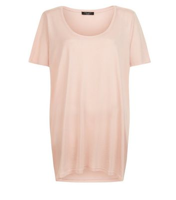 Curves Shell Pink Scoop Neck T-Shirt New Look