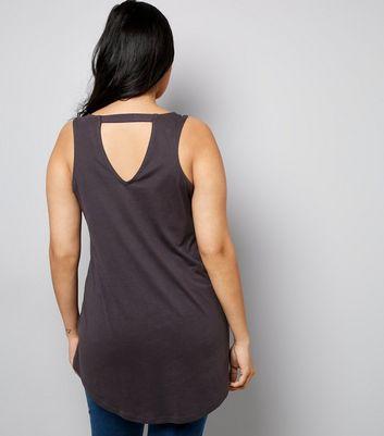 Curves Dark Grey Cut Out Back Dip Hem Vest New Look