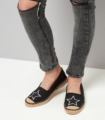 Teens Black Canvas Star Badge Espadrilles New Look