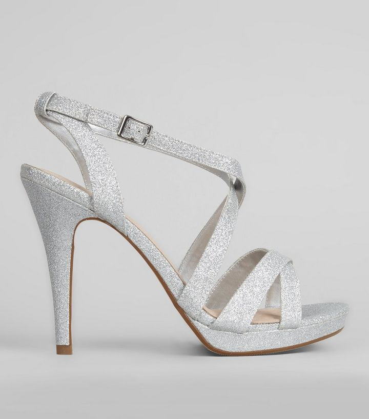 edb5888bfa1 Silver Comfort Cross Strap Front Heels Add to Saved Items Remove from Saved  Items