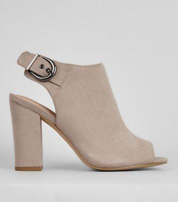 Grey Comfort Sling Back Buckle Strap Heels New Look