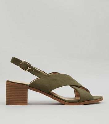 Khaki Suedette Cross Strap Block Heels New Look