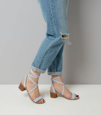 Blue Suede Tie Up Mini Block Heels New Look
