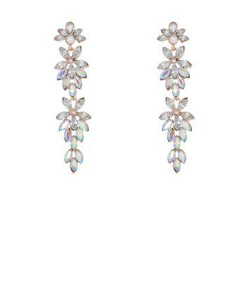 Rose Gold Crystal Drop Chandelier Earrings New Look