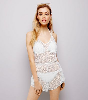 White Sheer Crochet Lace Playsuit New Look